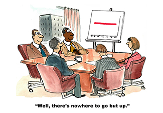 People sitting at conference table with a chart showing a lateral line knowing they need to improve sales.