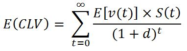 Definitional expression for expected customer lifetime value E(CLV)