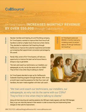 CallSource Coaching Case Study: On Time Experts Increase Revenue