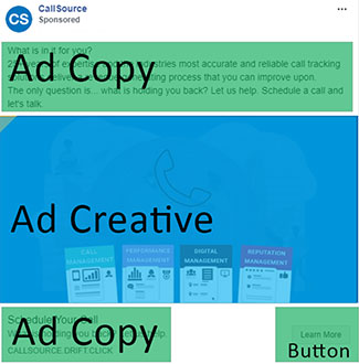 Placement of ad copy and ad creative