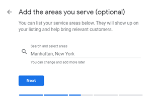 Google My Business setup: Add the areas you serve