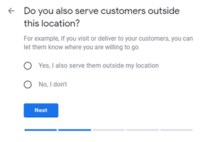 Google My Business setup: Do you also serve customers outside this location?