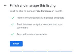 Google My Business setup; Finish and manage this listing