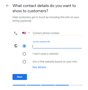 Google My Business setup: What contact details do you want to show to customers?
