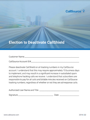 Election to Deactive CallShield