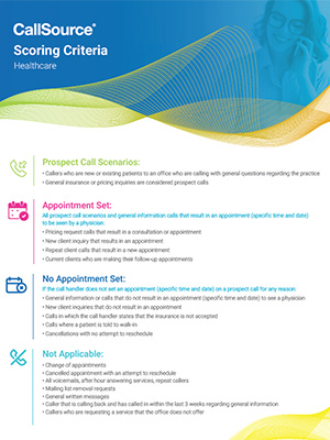 CallSource Scoring Criteria - Healthcare