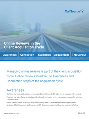Online Reviews in the Client Aquisition Cycle