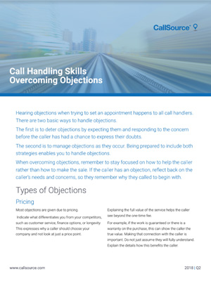Call Handling Skills: Overcoming Objections
